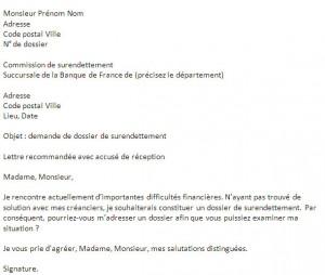 lettre de demande de dossier de surendettement